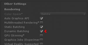 Unity Dynamic Batching Tickbox