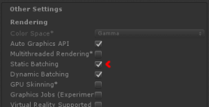 Unity Static Batching Tickbox
